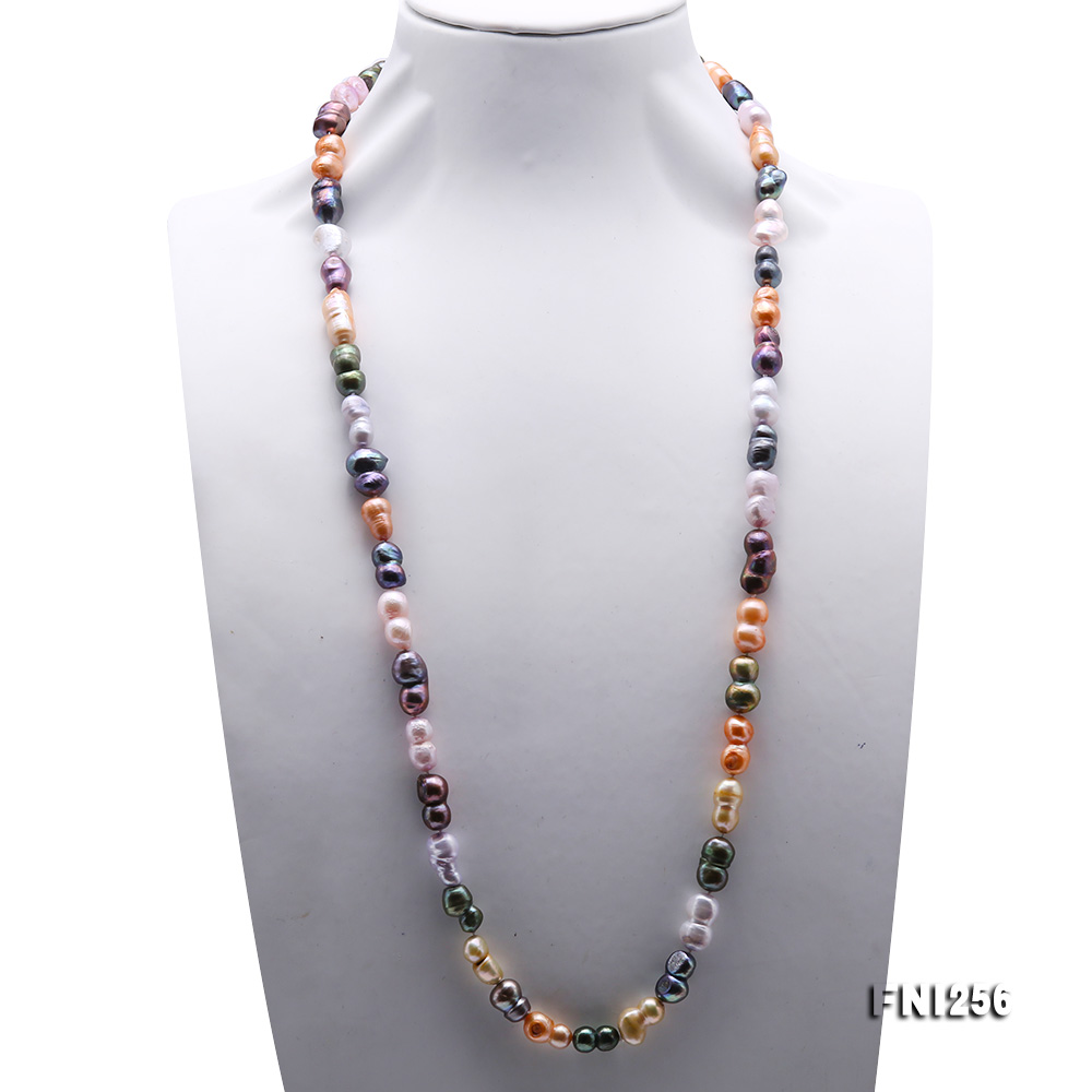 Classical 10x14mm Multi-Color Baroque Pearl Long Necklace big Image 2