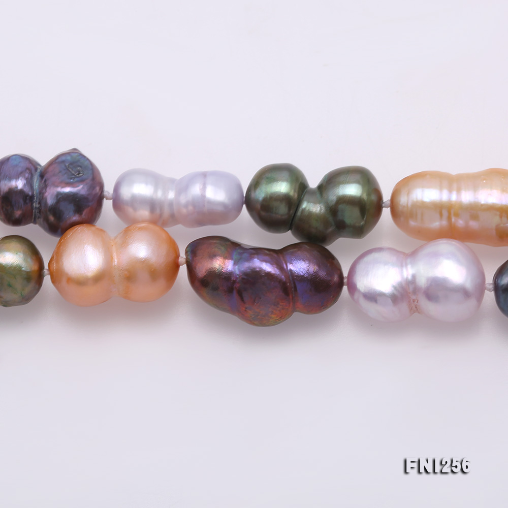 Classical 10x14mm Multi-Color Baroque Pearl Long Necklace big Image 3