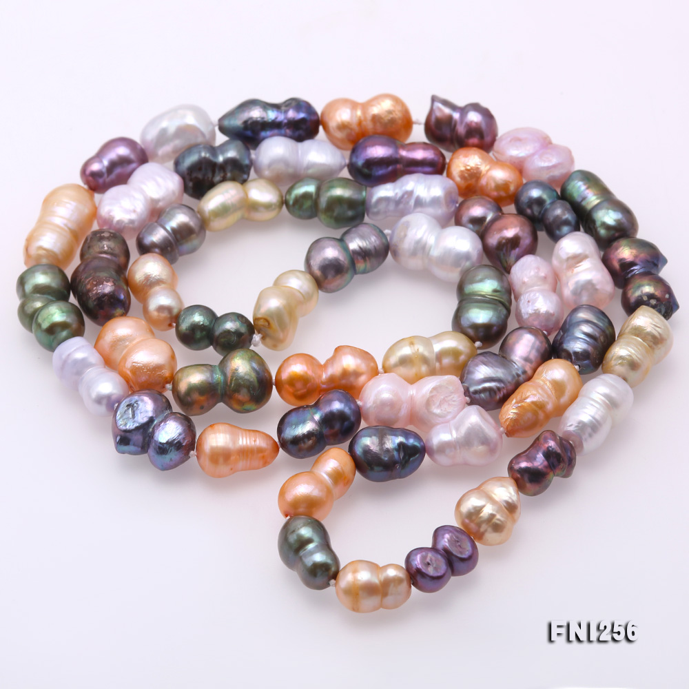 Classical 10x14mm Multi-Color Baroque Pearl Long Necklace big Image 4