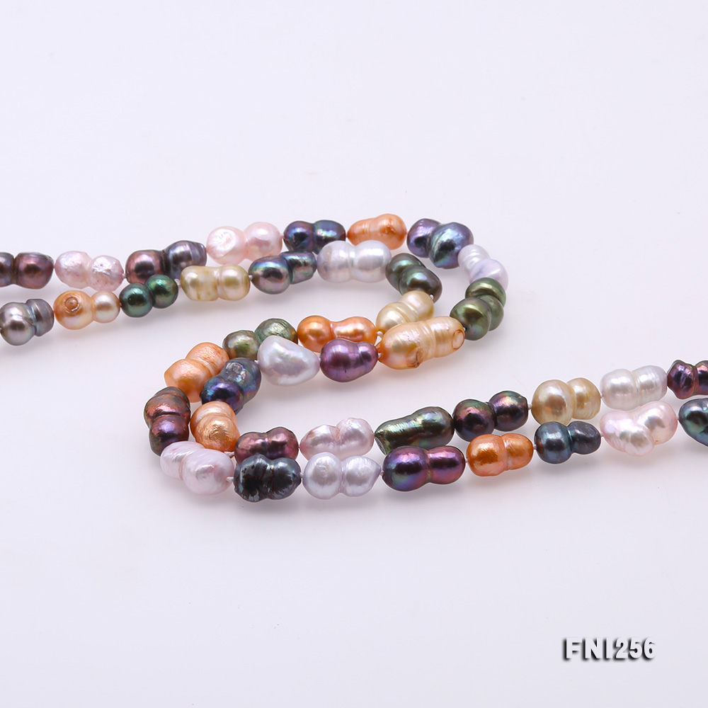 Classical 10x14mm Multi-Color Baroque Pearl Long Necklace big Image 5