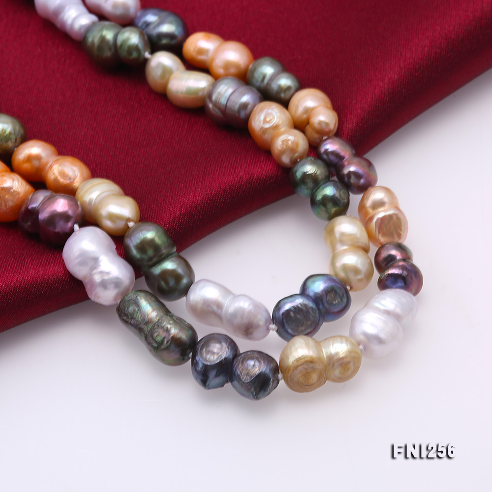 Classical 10x14mm Multi-Color Baroque Pearl Long Necklace big Image 6