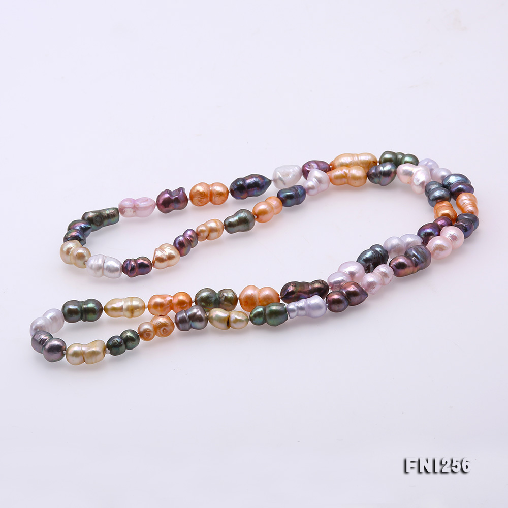 Classical 10x14mm Multi-Color Baroque Pearl Long Necklace big Image 7