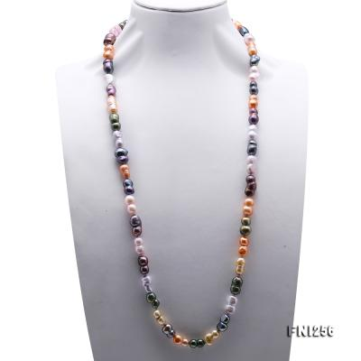 Classical 10x14mm Multi-Color Baroque Pearl Long Necklace FNI256 Image 2