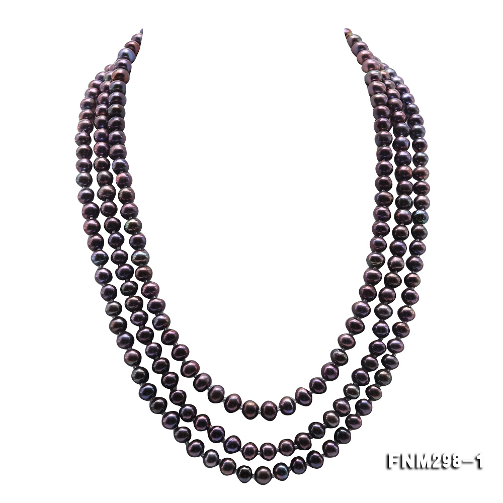 Beautiful Three-strand 6-7mm Black Freshwater Pearl Necklace big Image 1