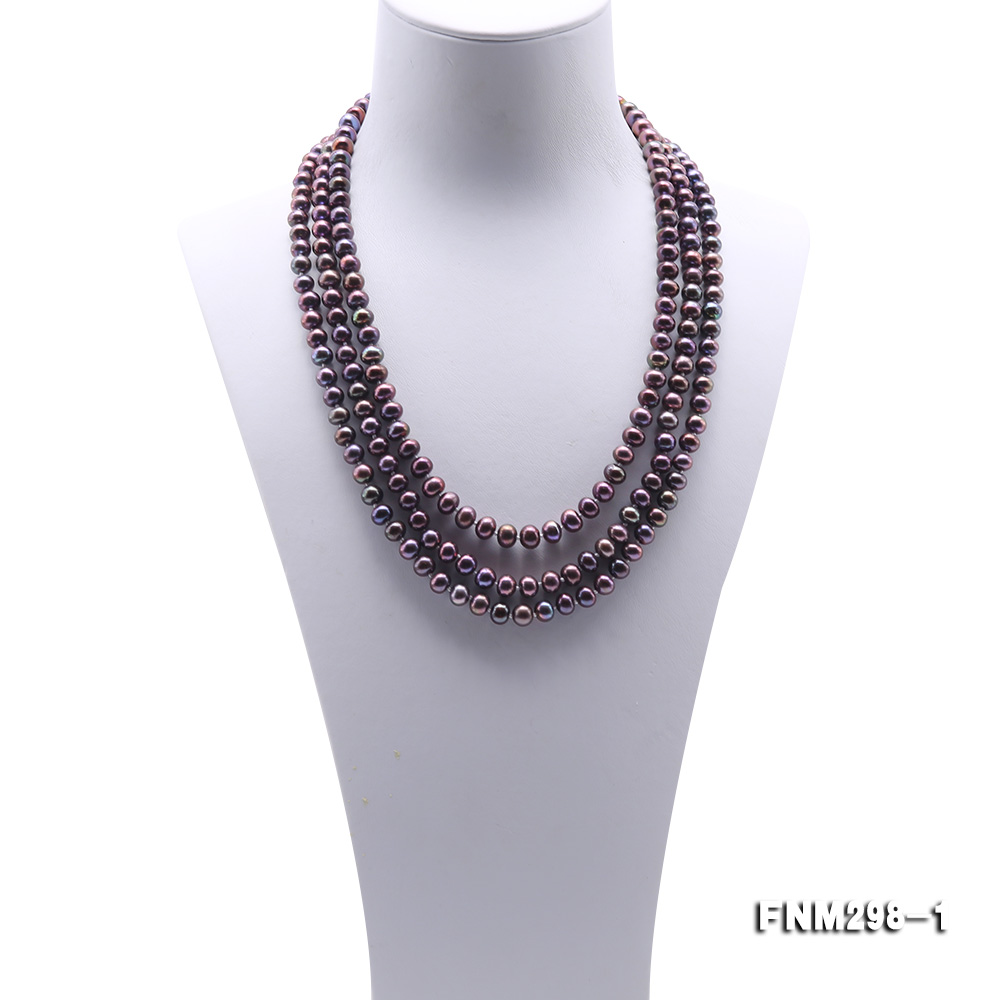 Beautiful Three-strand 6-7mm Black Freshwater Pearl Necklace big Image 2