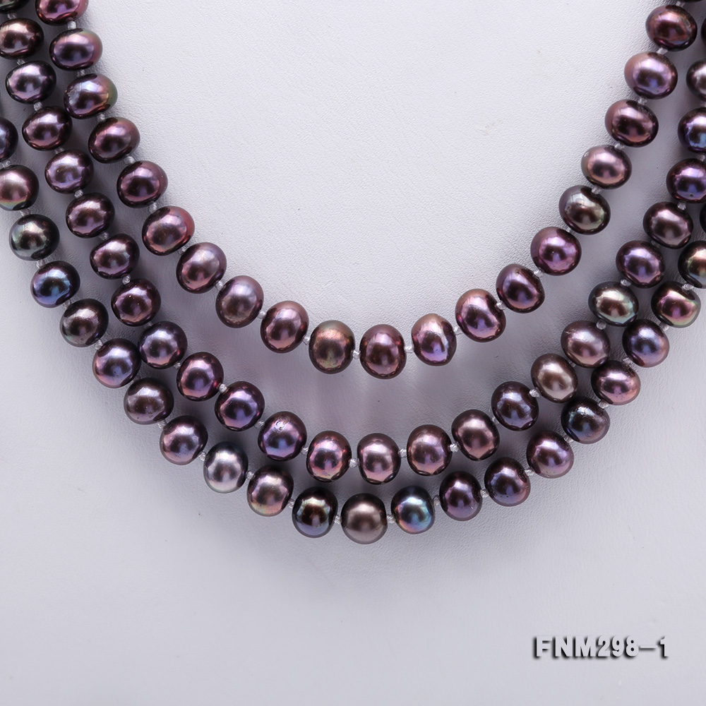 Beautiful Three-strand 6-7mm Black Freshwater Pearl Necklace big Image 3