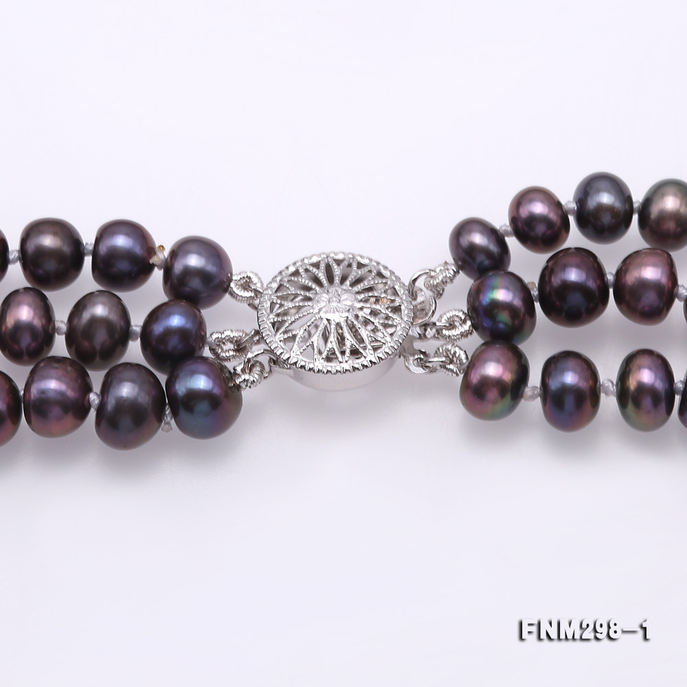 Beautiful Three-strand 6-7mm Black Freshwater Pearl Necklace big Image 4
