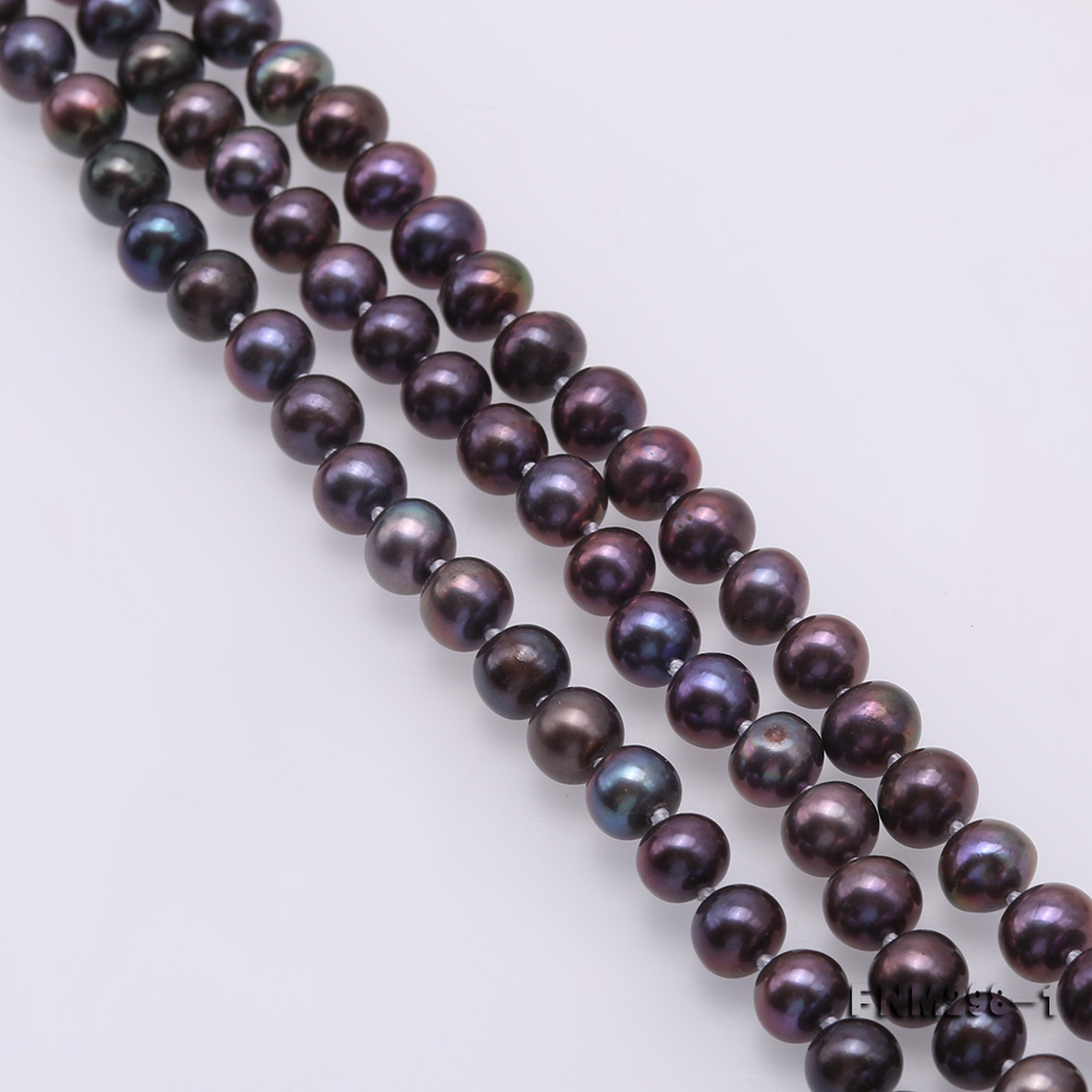 Beautiful Three-strand 6-7mm Black Freshwater Pearl Necklace big Image 5