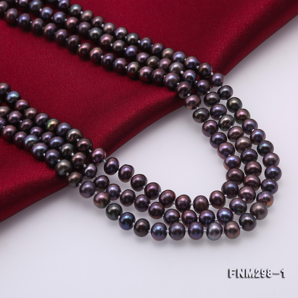 Beautiful Three-strand 6-7mm Black Freshwater Pearl Necklace big Image 6