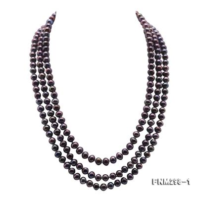 Beautiful Three-strand 6-7mm Black Freshwater Pearl Necklace FNM298-1 Image 1