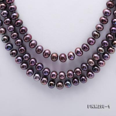 Beautiful Three-strand 6-7mm Black Freshwater Pearl Necklace FNM298-1 Image 3