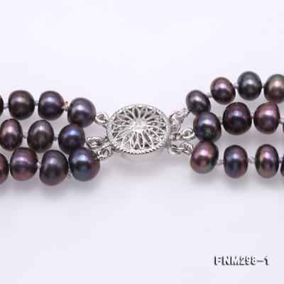 Beautiful Three-strand 6-7mm Black Freshwater Pearl Necklace FNM298-1 Image 4