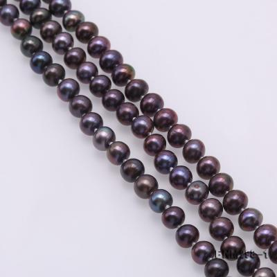 Beautiful Three-strand 6-7mm Black Freshwater Pearl Necklace FNM298-1 Image 5