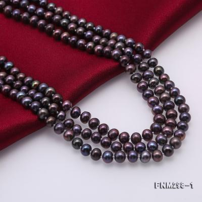 Beautiful Three-strand 6-7mm Black Freshwater Pearl Necklace FNM298-1 Image 6