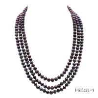 Beautiful Three-strand 6-7mm Black Freshwater Pearl Necklace FNM298-1