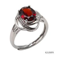 Delicate 7x9mm Natural Garnet Sterling Silver Ring GAR001