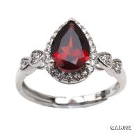 Delicate 7x11mm Natural Garnet Sterling Silver Ring GAR002