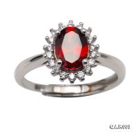 Delicate 5x8mm Natural Garnet Sterling Silver Ring GAR003