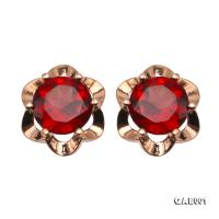 Delicate 6.5mm Natural Garnet Sterling Silver Earrings GAE001