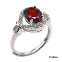 Delicate 7x9mm Natural Garnet Sterling Silver Ring GAR004