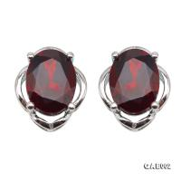 Delicate 6x8mm Natural Garnet Sterling Silver Earrings GAE002