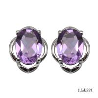 Delicate 6x8mm Natural Amethyst Sterling Silver Earrings AME001