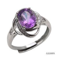 Delicate 7x9mm Natural Amethyst Sterling Silver Ring AMR001