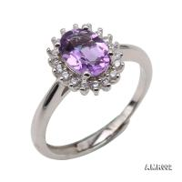 Delicate 6x8mm Natural Amethyst Sterling Silver Ring AMR002