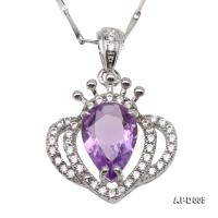 Delicate 7x10mm Natural Amethyst Sterling Silver Pendant APD005