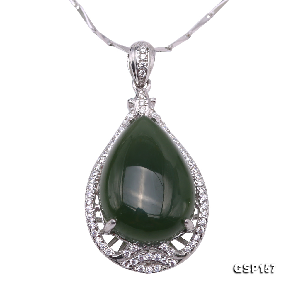Charming 13x18mm Green Hetian Jade Pendant in 925 Silver big Image 1