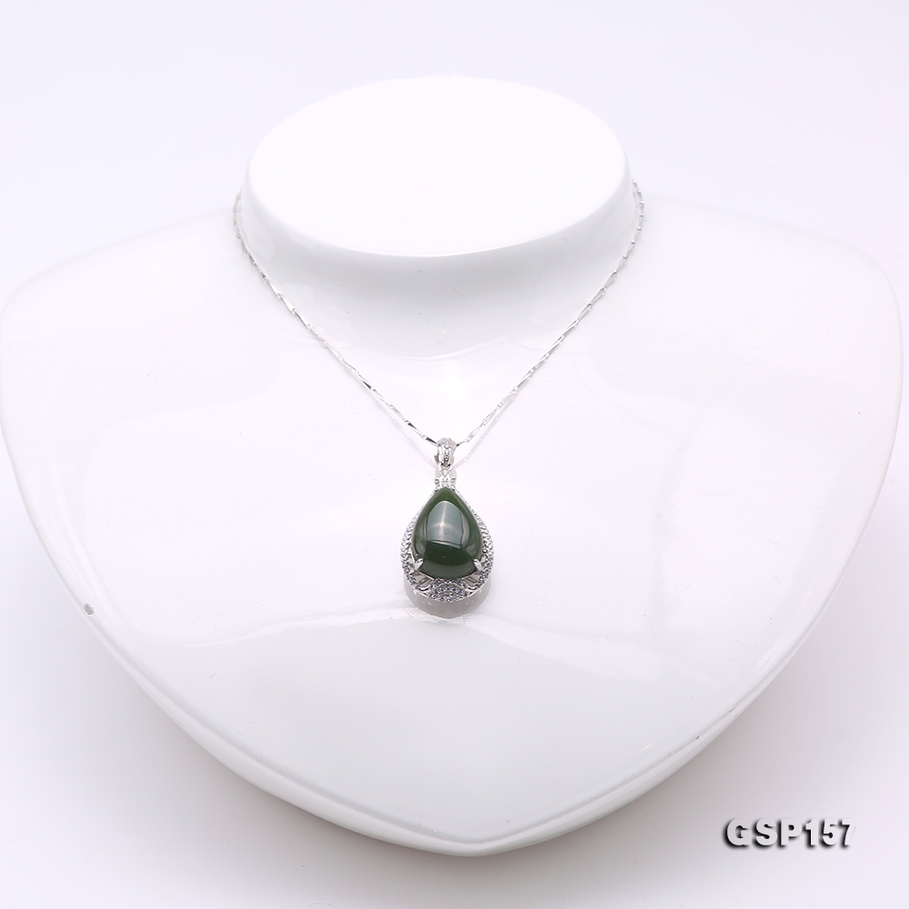 Charming 13x18mm Green Hetian Jade Pendant in 925 Silver big Image 2