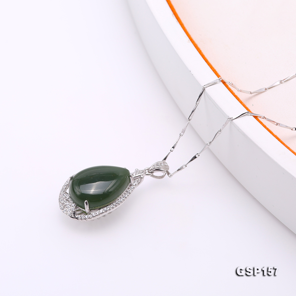 Charming 13x18mm Green Hetian Jade Pendant in 925 Silver big Image 4