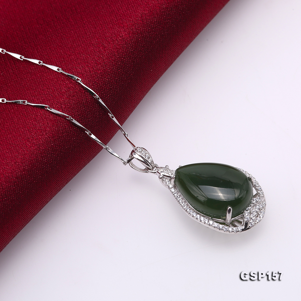 Charming 13x18mm Green Hetian Jade Pendant in 925 Silver big Image 5