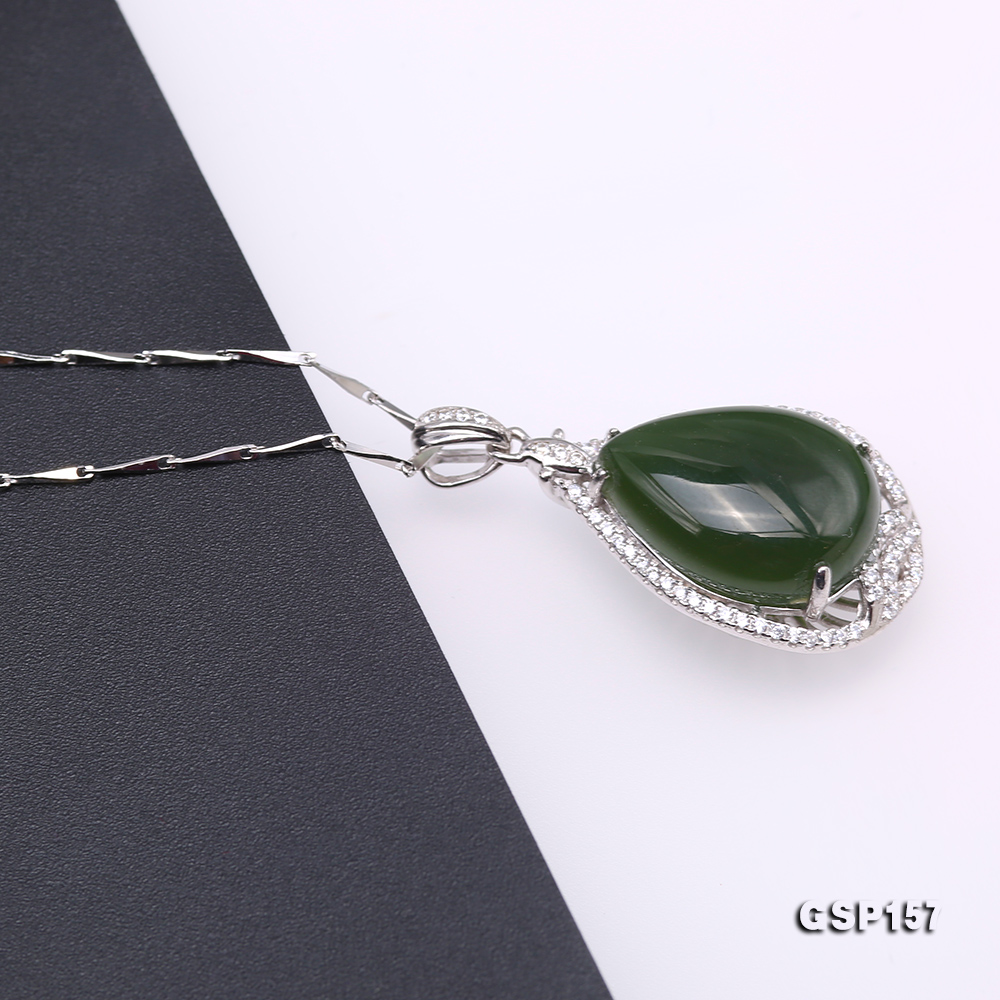 Charming 13x18mm Green Hetian Jade Pendant in 925 Silver big Image 6