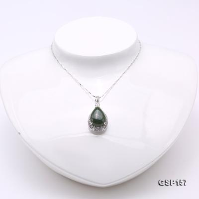 Charming 13x18mm Green Hetian Jade Pendant in 925 Silver GSP157 Image 2
