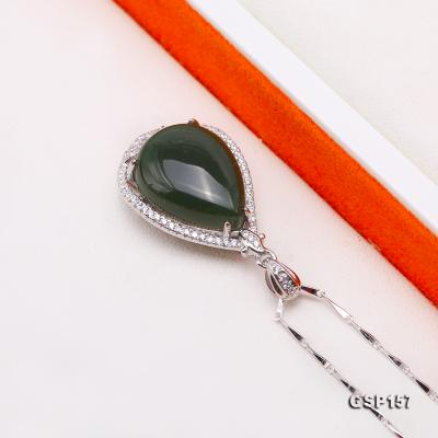 Charming 13x18mm Green Hetian Jade Pendant in 925 Silver GSP157 Image 3