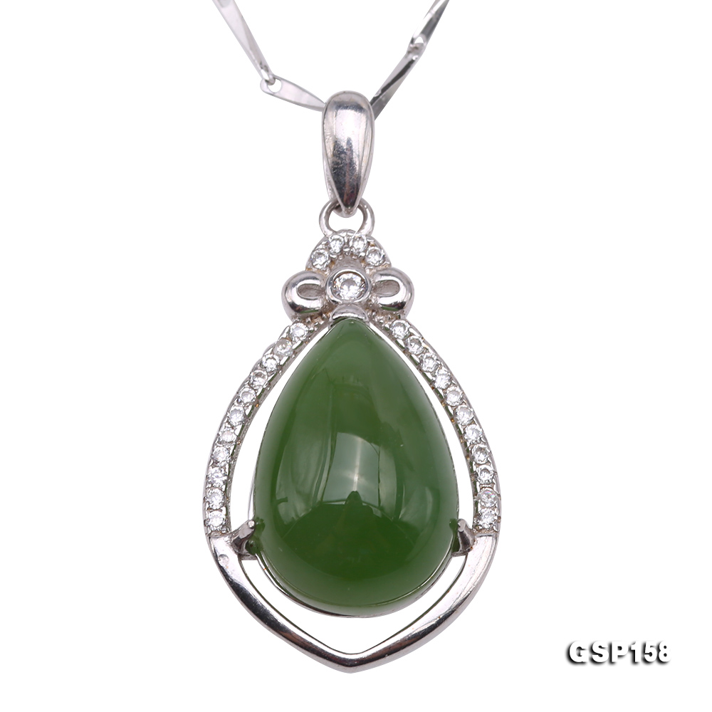 Charming 10x14mm Green Hetian Jade Pendant in 925 Silver big Image 1