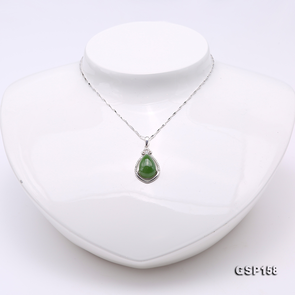Charming 10x14mm Green Hetian Jade Pendant in 925 Silver big Image 2