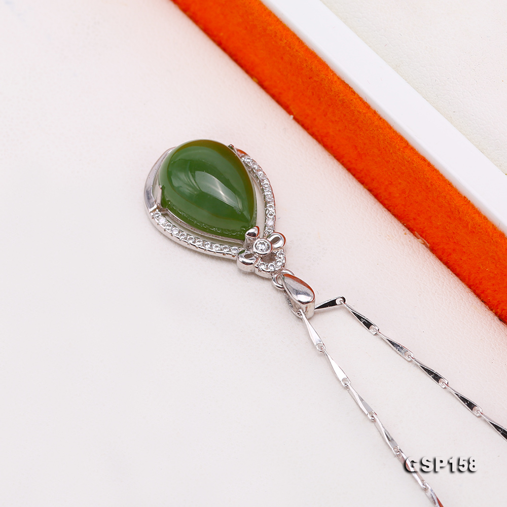 Charming 10x14mm Green Hetian Jade Pendant in 925 Silver big Image 3