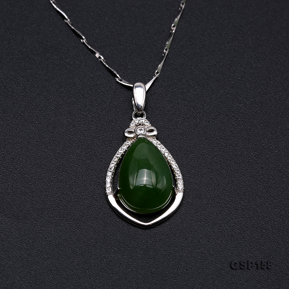 Charming 10x14mm Green Hetian Jade Pendant in 925 Silver big Image 5