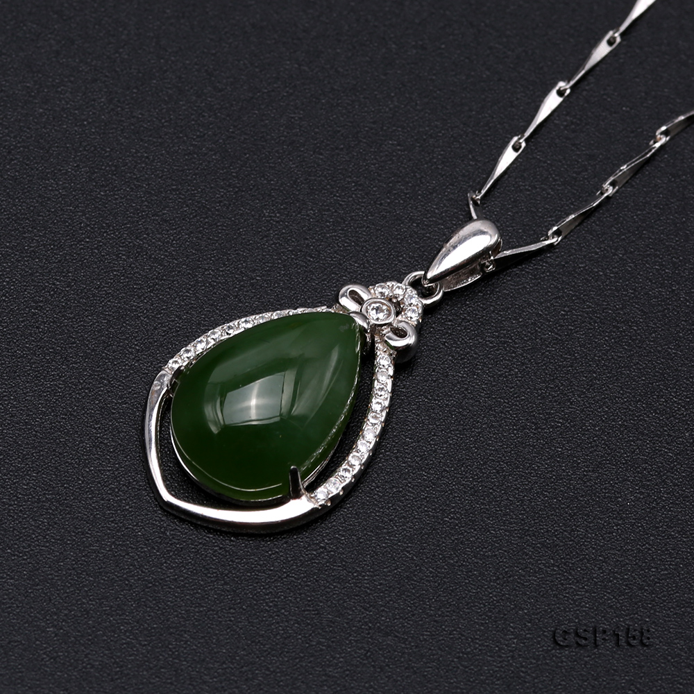 Charming 10x14mm Green Hetian Jade Pendant in 925 Silver big Image 6