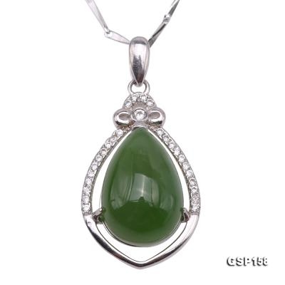 Charming 10x14mm Green Hetian Jade Pendant in 925 Silver GSP158 Image 1