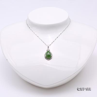 Charming 10x14mm Green Hetian Jade Pendant in 925 Silver GSP158 Image 2
