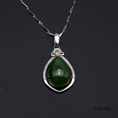 Charming 10x14mm Green Hetian Jade Pendant in 925 Silver GSP158 Image 5