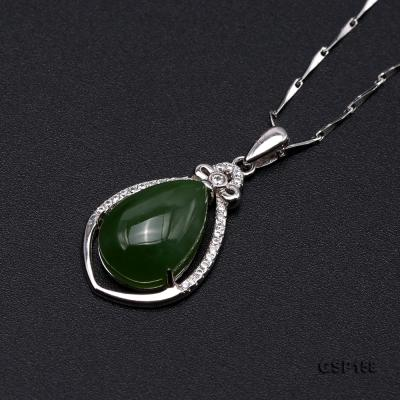 Charming 10x14mm Green Hetian Jade Pendant in 925 Silver GSP158 Image 6