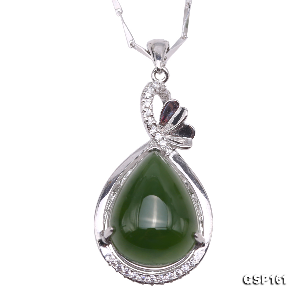 Charming 11.5x16.5mm Green Hetian Jade Pendant in 925 Silver big Image 1