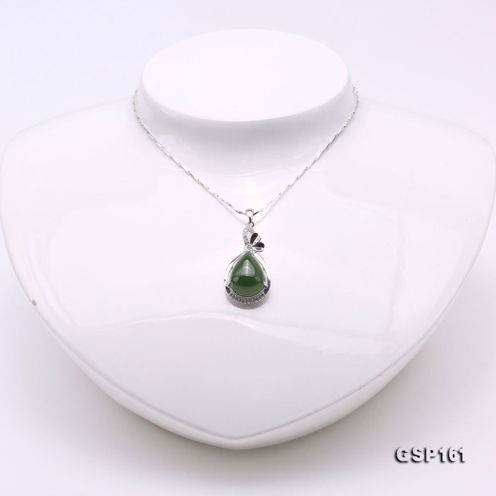 Charming 11.5x16.5mm Green Hetian Jade Pendant in 925 Silver big Image 2