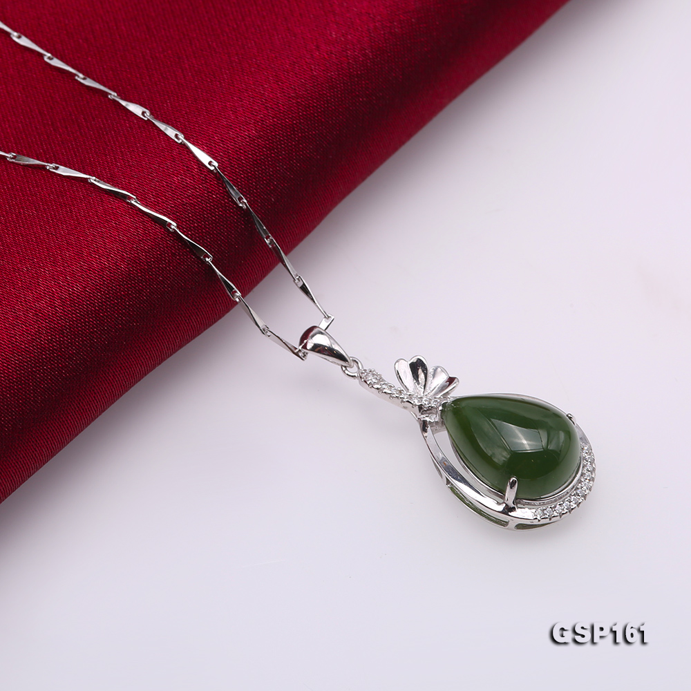 Charming 11.5x16.5mm Green Hetian Jade Pendant in 925 Silver big Image 5