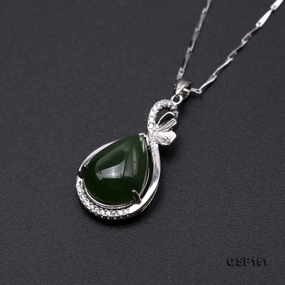Charming 11.5x16.5mm Green Hetian Jade Pendant in 925 Silver big Image 6