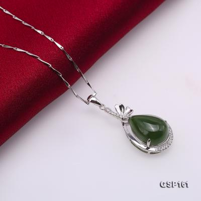 Charming 11.5x16.5mm Green Hetian Jade Pendant in 925 Silver GSP161 Image 5